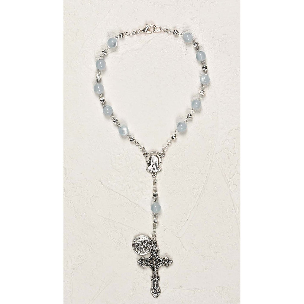 St Christopher Auto Rosary - Aqua Cat's Eye - Pack of 3