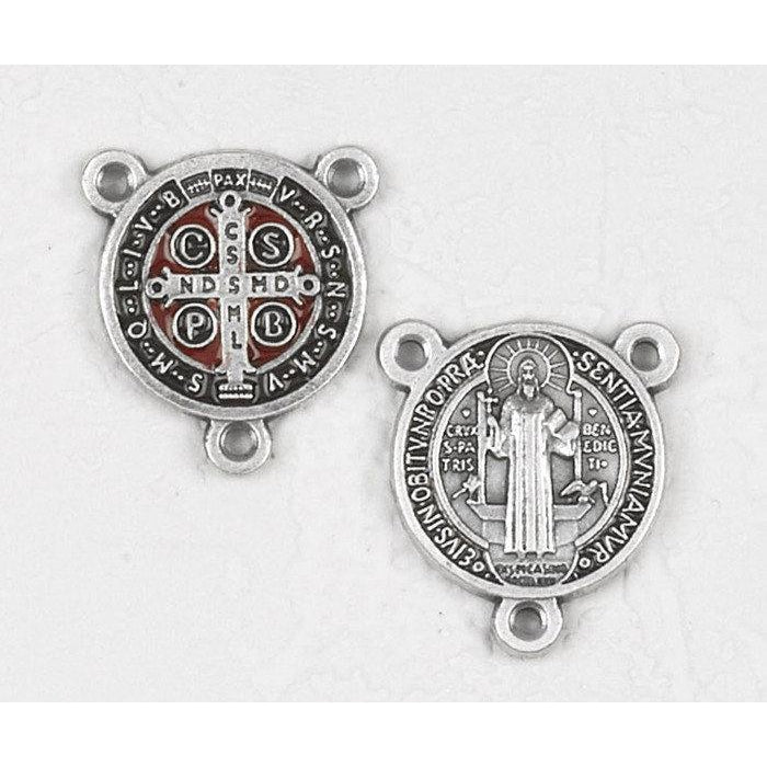 Brown and Red Enameled Saint Benedict Rosary Center - Pack of 12