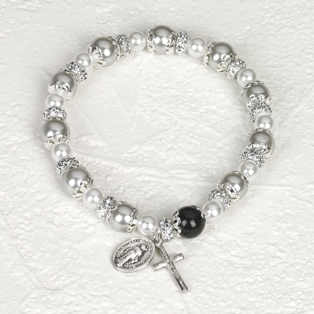 White Rosary Bracelet with Pearl - Pack of 4