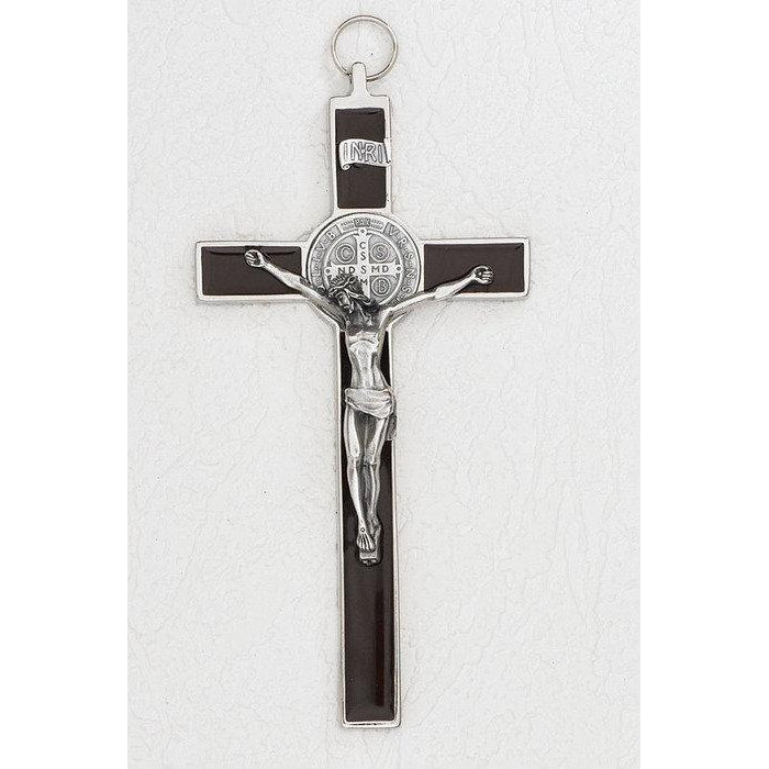 Saint Benedict Brown Enamel Cross - Silver Tone Medal