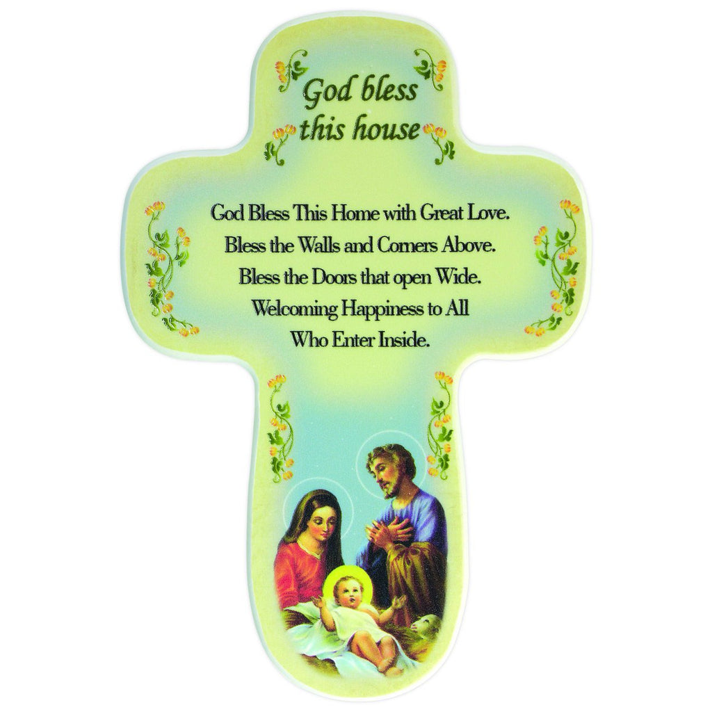 Holy Family Cross Bless This House Wall Plaque