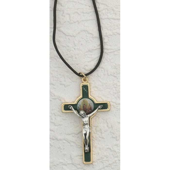 Gold Tone Enameled Lady of Guadalupe Cross