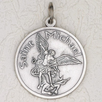 Saint Michael Silver Tone 2-1/2 Inch Medal - Pack of 6