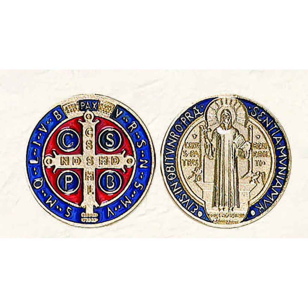 St Benedict Token - Gold tone with Dark Blue and Red - Pack of 6