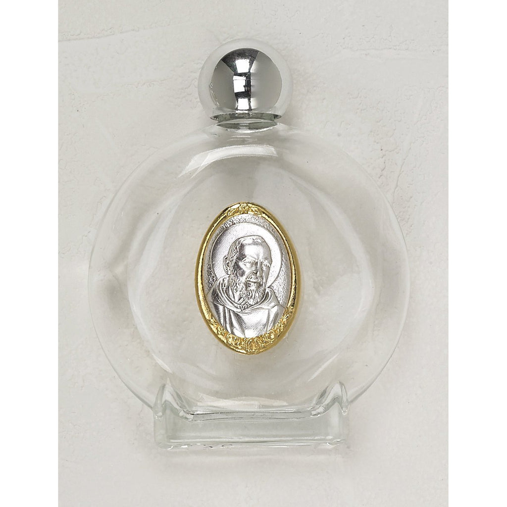 Large 4 oz Glass Holy Water Bottle, 2 tone medal of Padre Pio - Pack of 3