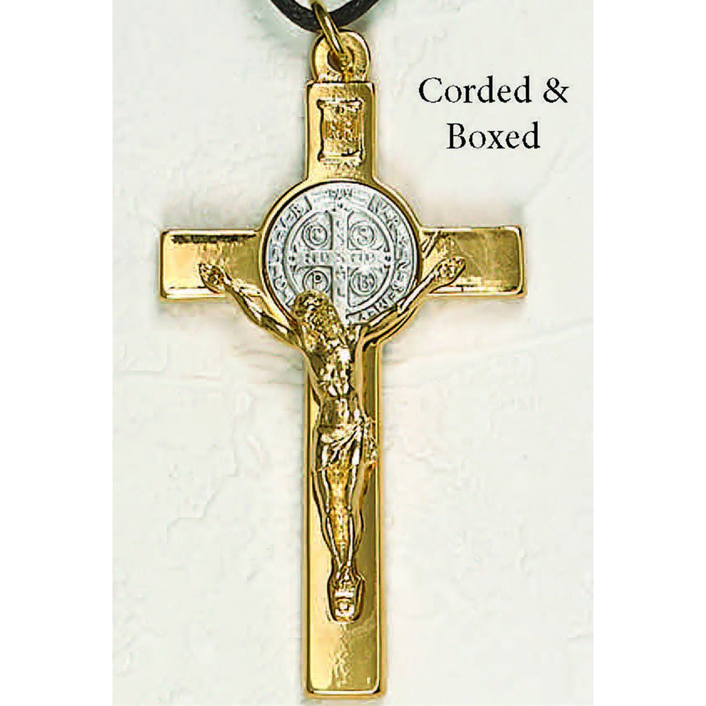 Saint Benedict Gold Tone Classic Crucifix - Silver Tone Medal Corded in Box