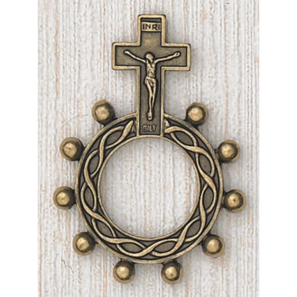 Crucifix - Finger Rosary - Brass Tone