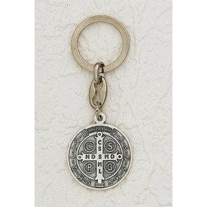 Saint Benedict Silver Tone Token Keychain Pack of 6
