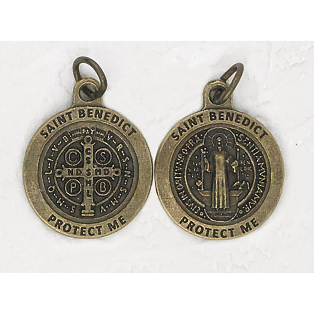Premium Saint Benedict Double Sided Round Brass Tone Medal - 4 Options