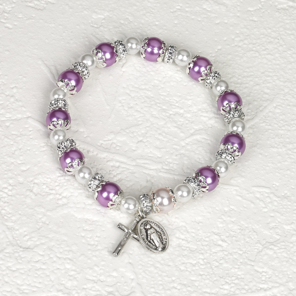 Purple Rosary Bracelet with Pearl - Pack of 4