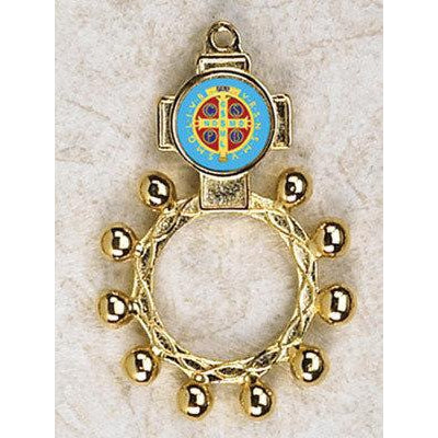 St Benedict - Finger Rosary - Graphic Gold Tone