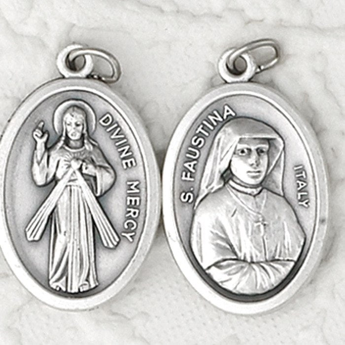 St. Faustina / Divine Mercy Double SIded Medal  - 4 Options