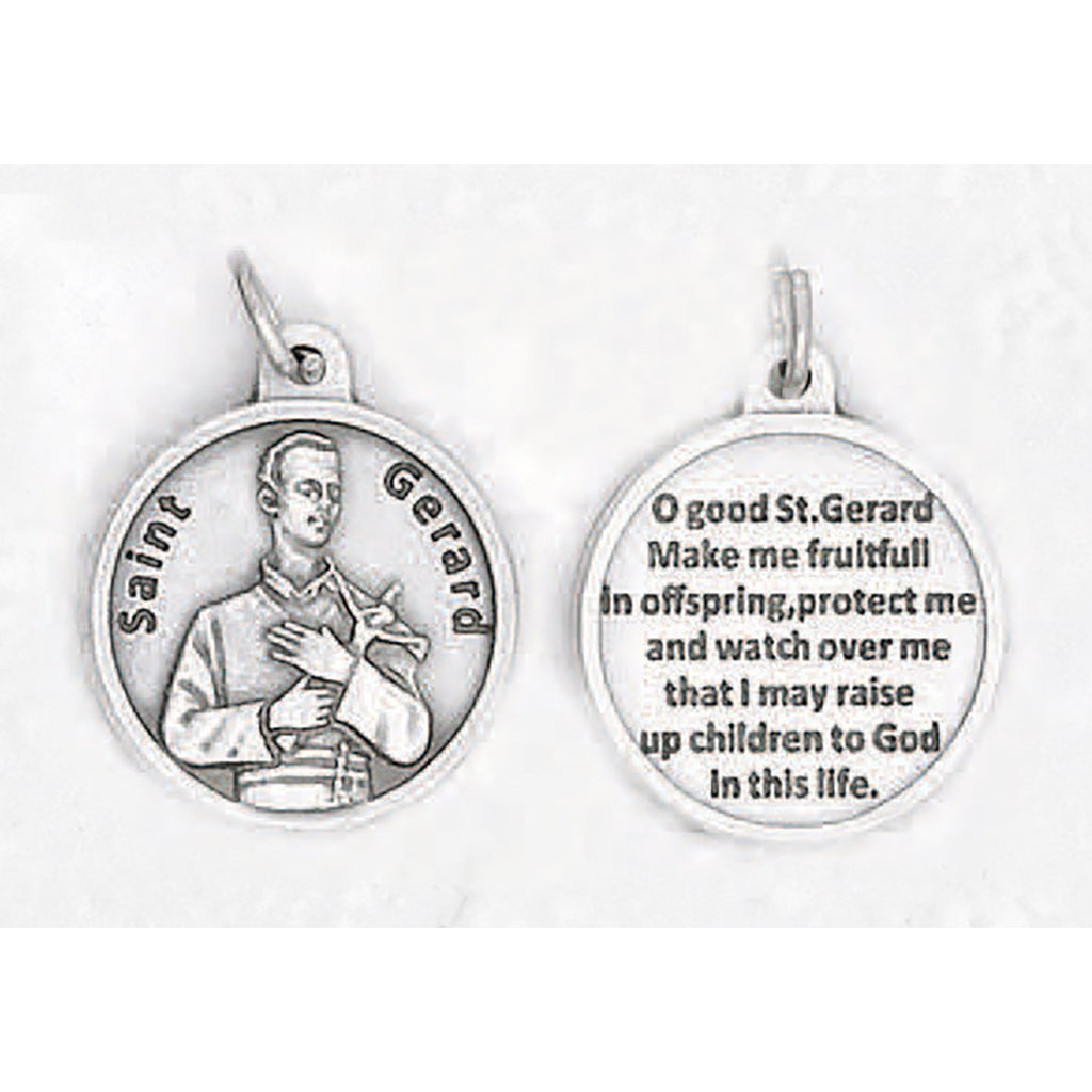 Saint Gerard Silver Tone Round Medal - 4 Options