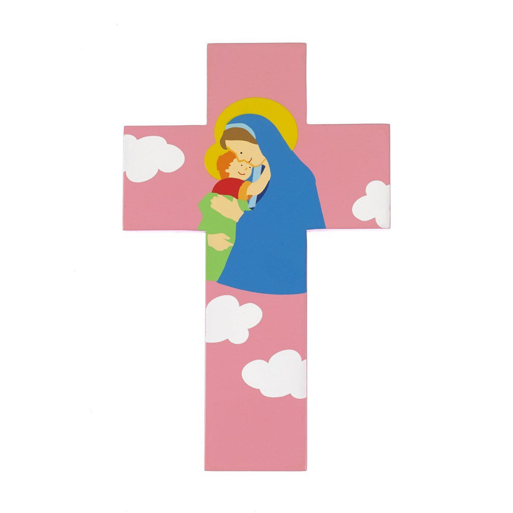 8 inch Wood Cross- Mary with Jesus- Pink - Pack of 4
