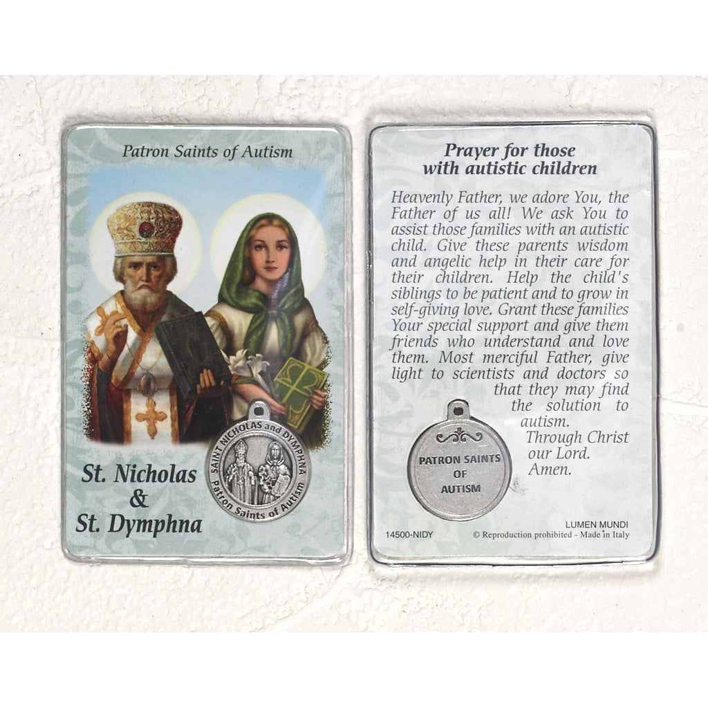 Healing Saint - St Nicholas/St Dymphna Card with Medal - Pack of 25