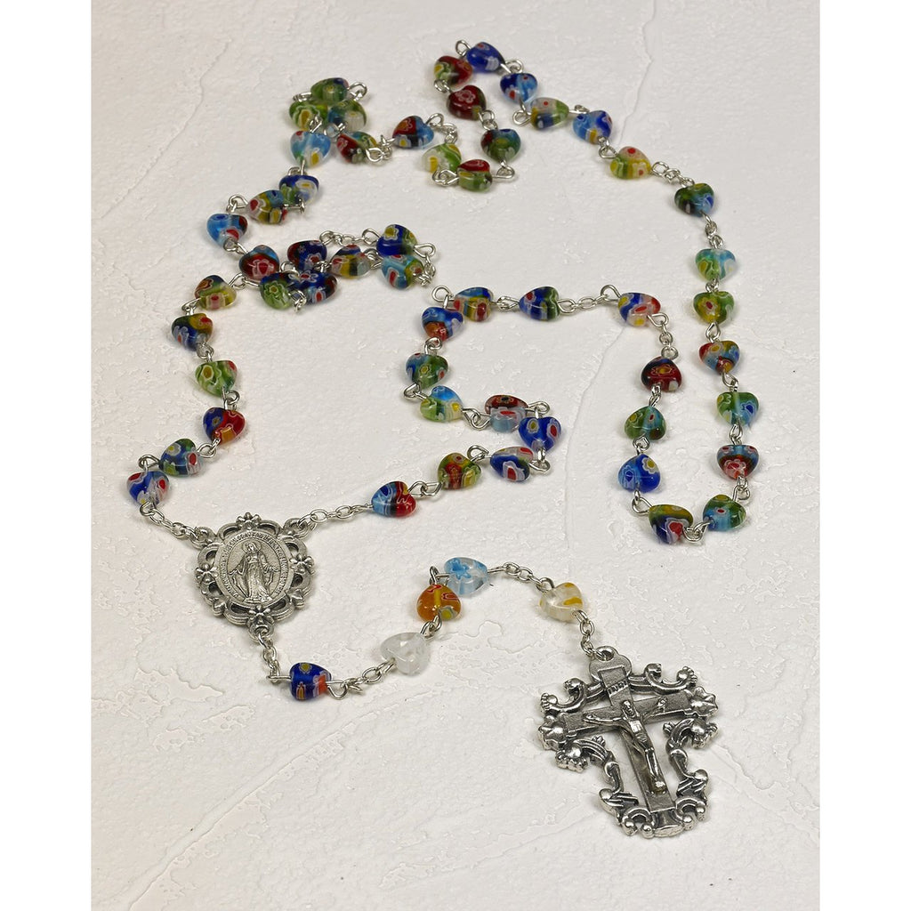 Deluxe Heart Shaped Imitation Murano Glass Rosary