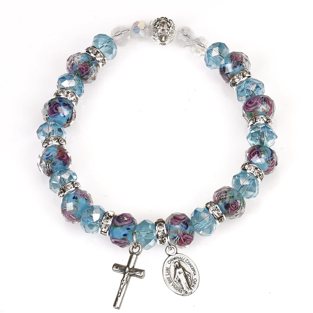 Light Blue and Rose Genuine Crystal Stretch Bracelet