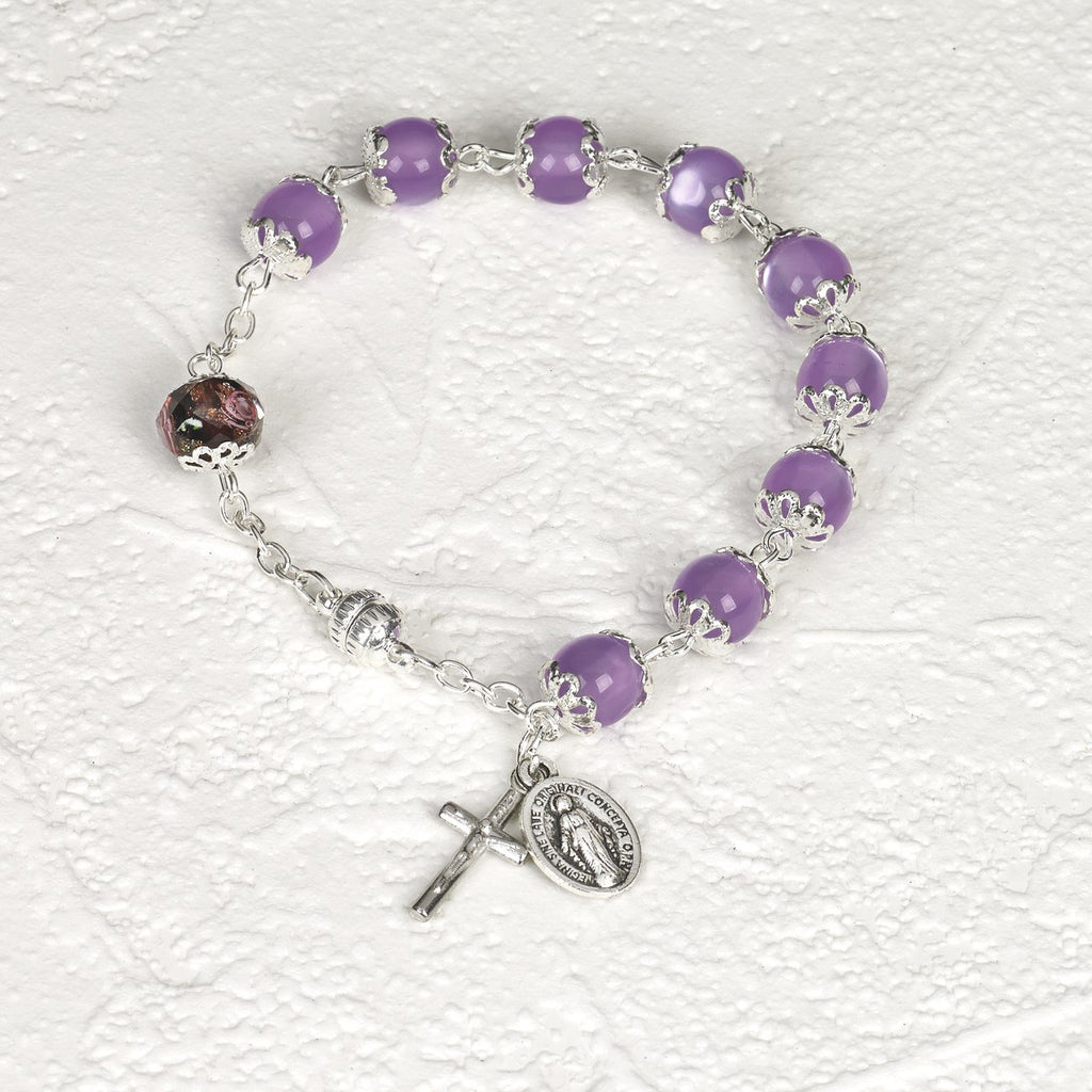 Purple Cats Eye - Italian Stretch Rosary Bracelet - Pack of 4