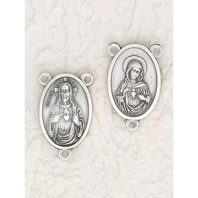 Twin Hearts Rosary Center - Oval - Pack of 25