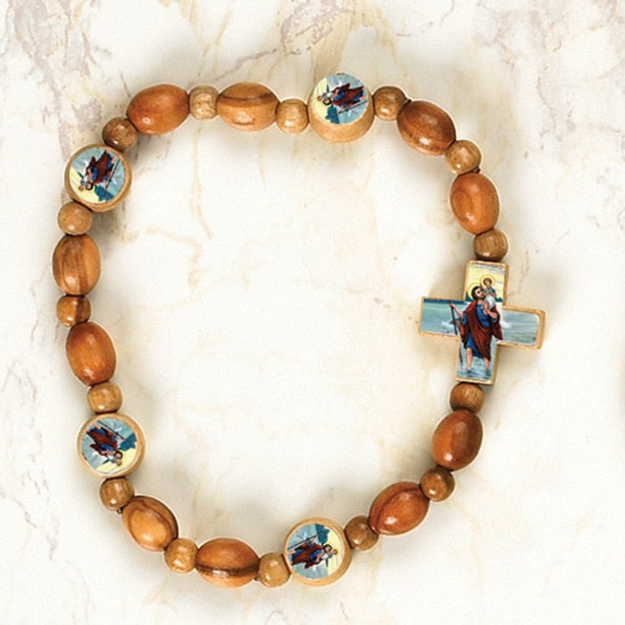 St. Christopher - Italian Olive Wood Stretch Bracelets - Pack of 6