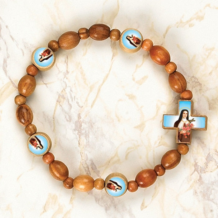 St. Therese of Liseaux - Italian Olive Wood Stretch Bracelets - Pack of 6