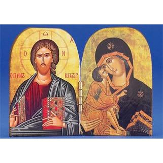 Pantocrator / Vladimir Printed Diptych 3-3/4 x 2-3/4 inch