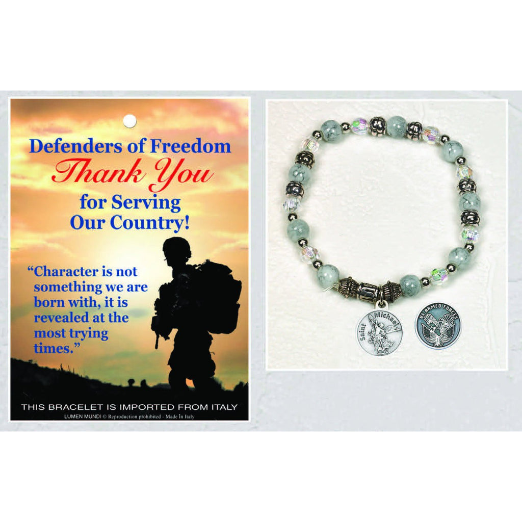 US Armed Forces / St Michael - Italian Stretch Bracelet with Prayer Card - Pack of 4