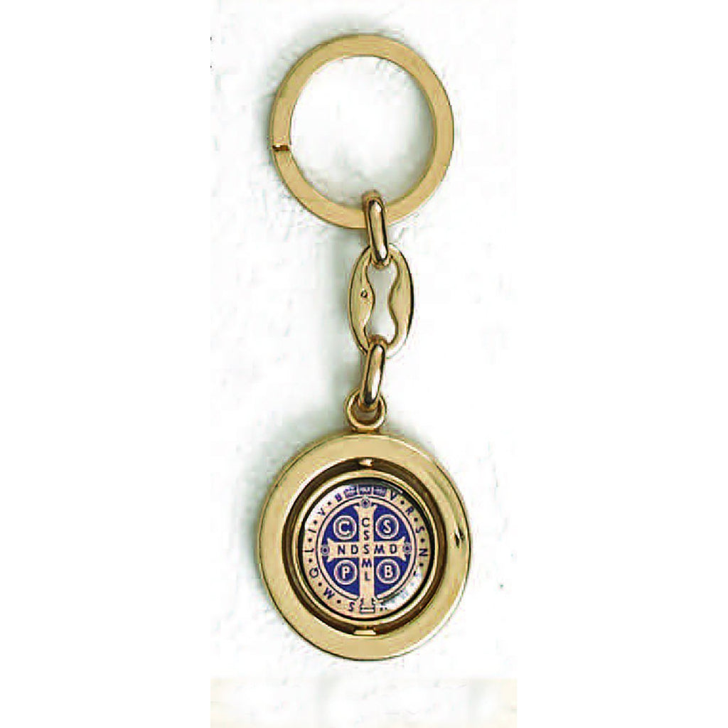 Gold Tone Foil Spinning Saint Benedict Key Chain - Pack of 6