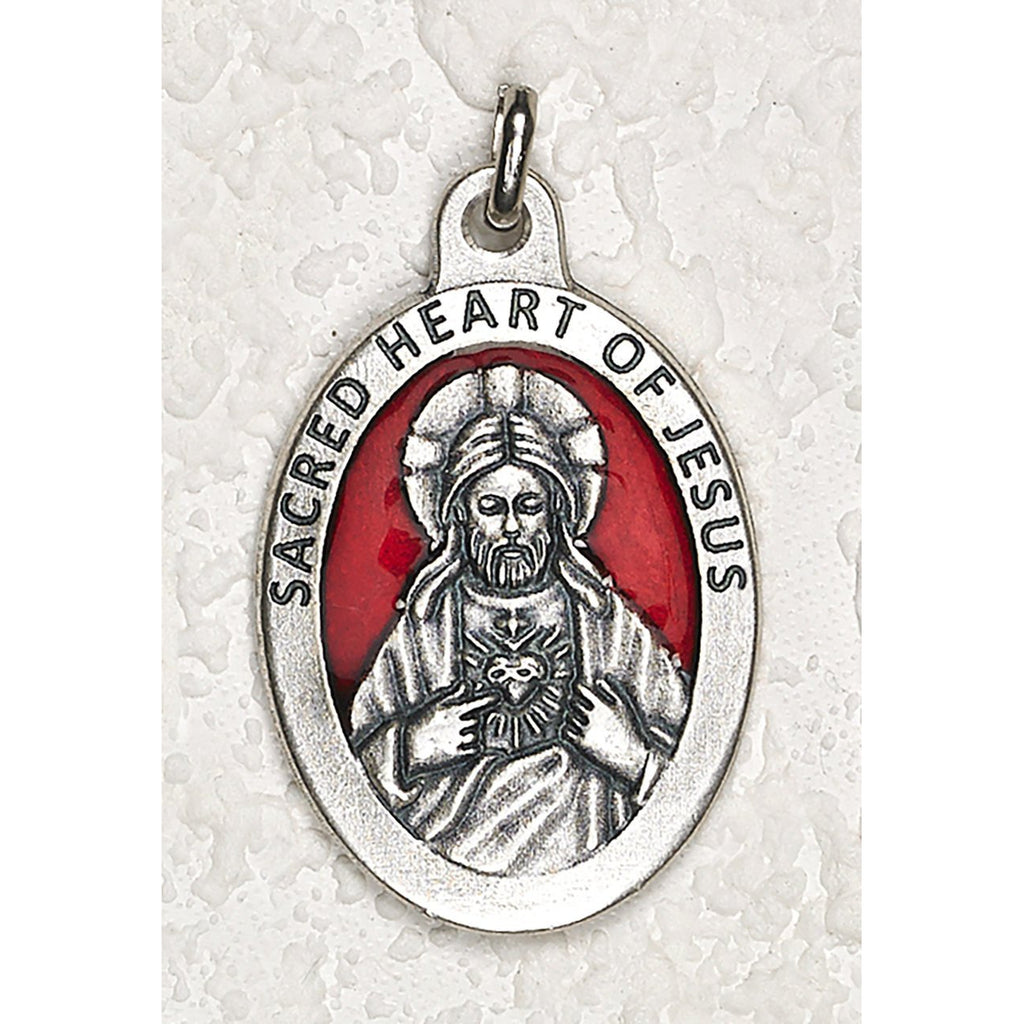 Sacred Heart  1-1/2 Inch Oval Red Enamel Medal - Pack of 12