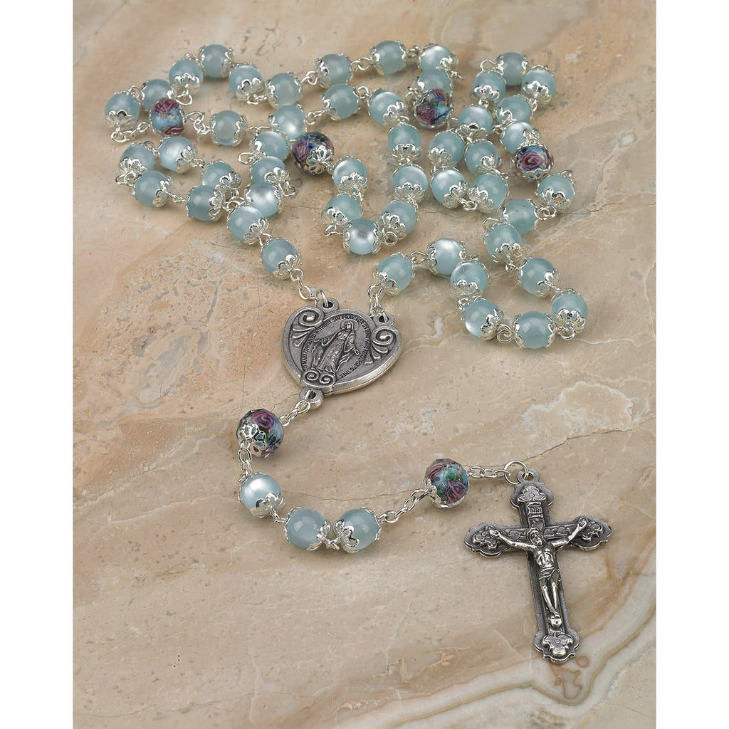 8mm Light Blue Glass Rosary with Genuine Crystal Our Father Beads