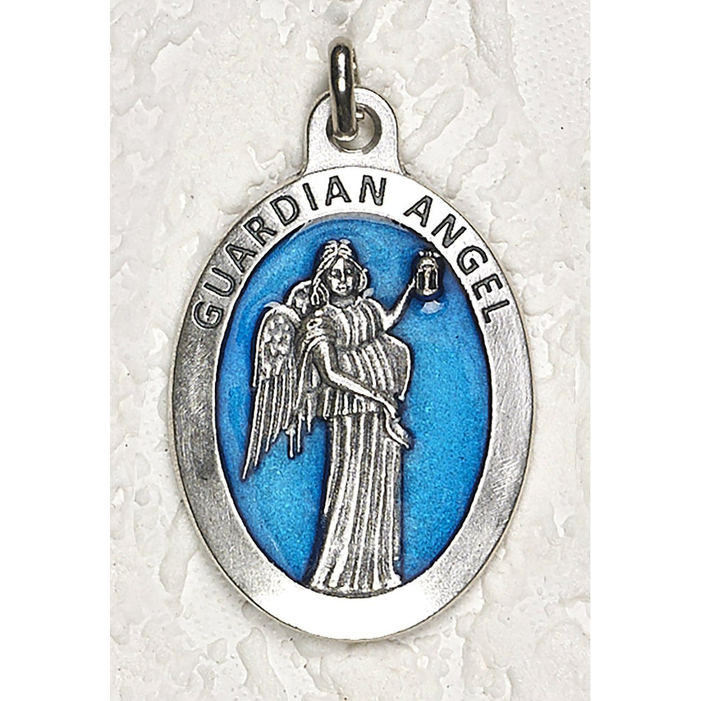 Gurdian Angel 1-1/2 Inch Oval Blue Enamel Medal - Pack of 12