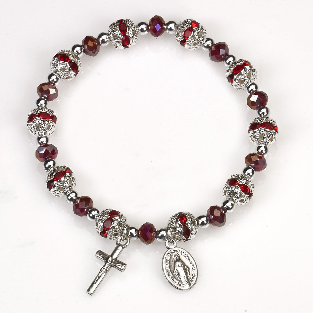Red Stretch Rosary Bracelet - Pack of 4