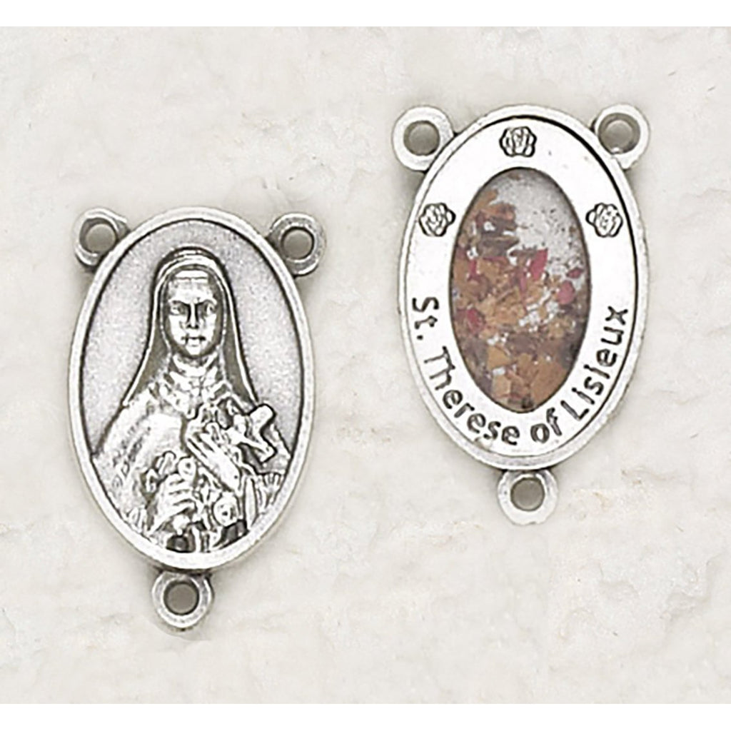 Saint Therese with Flowers Rosary Center - Pack of 12