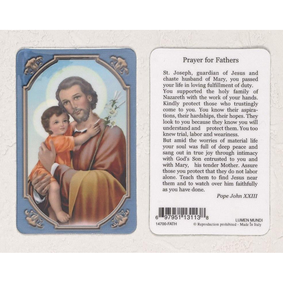 Daily Inspiration Plastic Prayer Card - Saint Joseph - Father - Pack of 25