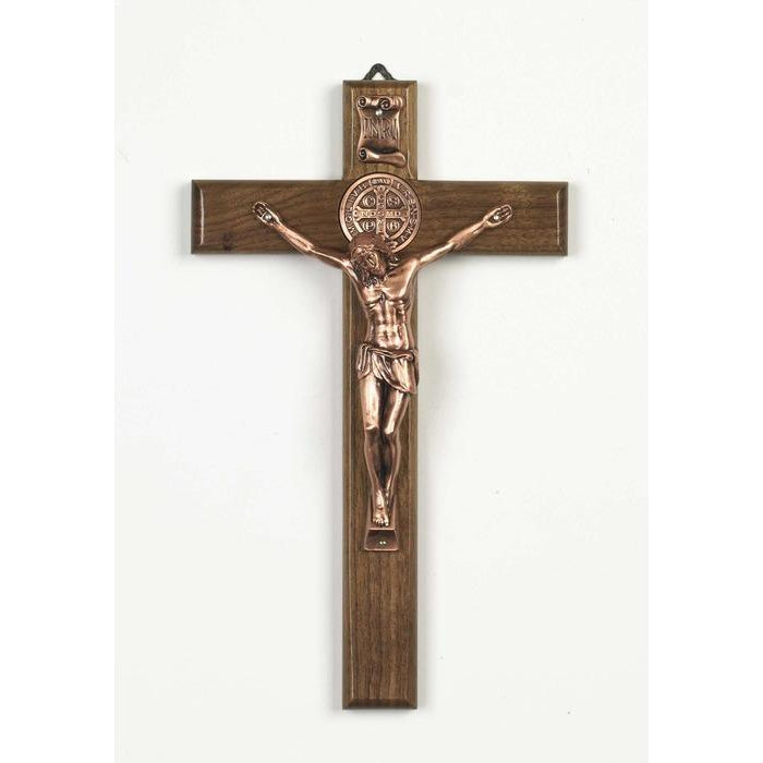 Saint Benedict Nut Wood Cross - Rose Gold Tone