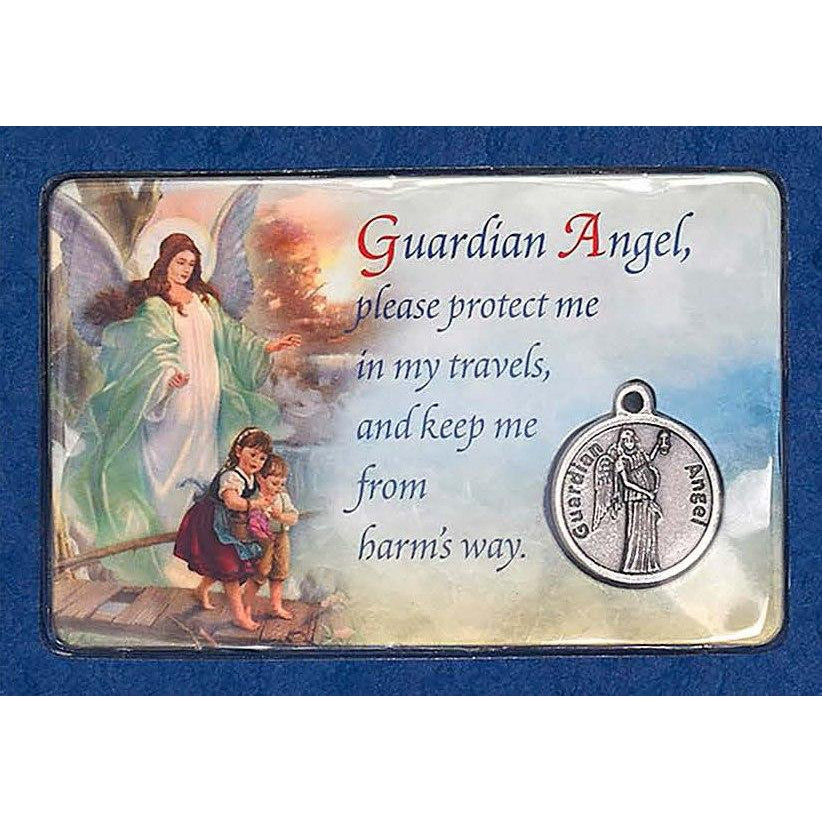 Guardian Angel Prayer Card With Medal - Pack of 12