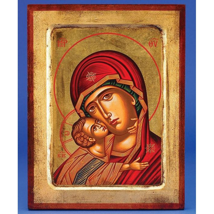 Glikofilousa (Sweet Kissing Madonna)- Gold Leaf - 11-1/2 x 8-1/2 inch - Hand Painted & Crafted in GREECE