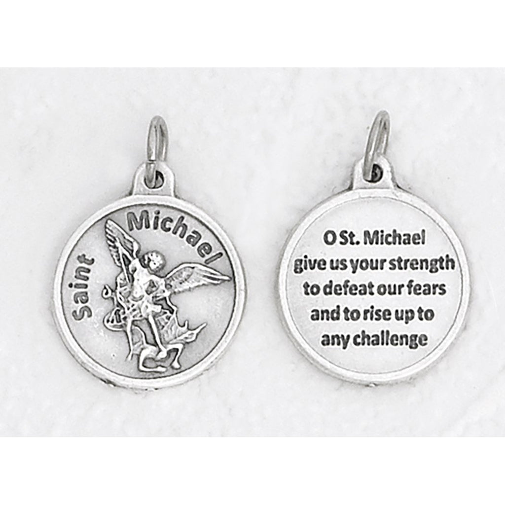 Saint Michael Silver Tone Round Medal - 4 Options