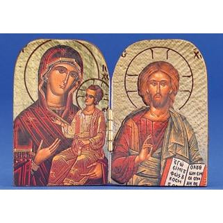 Pantocrator / Amolintos - Printed Foil Diptych 3-3/4 x 2-3/4 inch  Crafted in GREECE