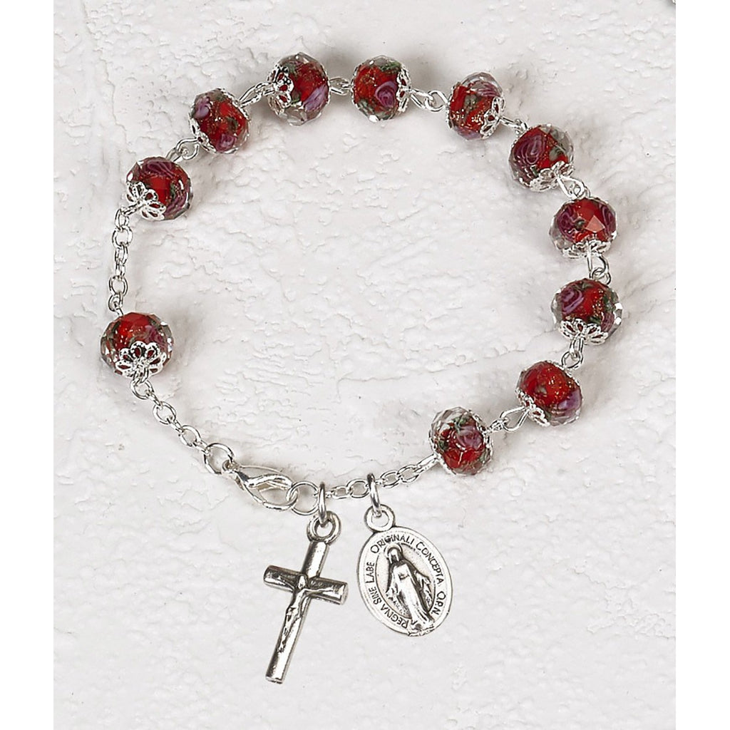 Red Crystal Rosary Bracelet with Pink Rose