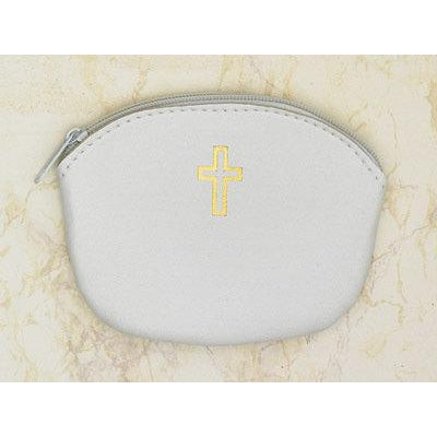 White zipper Rosary Pouch -  Pack of 12