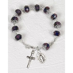 Dark Blue Crystal Rosary Bracelet with Pink Rose