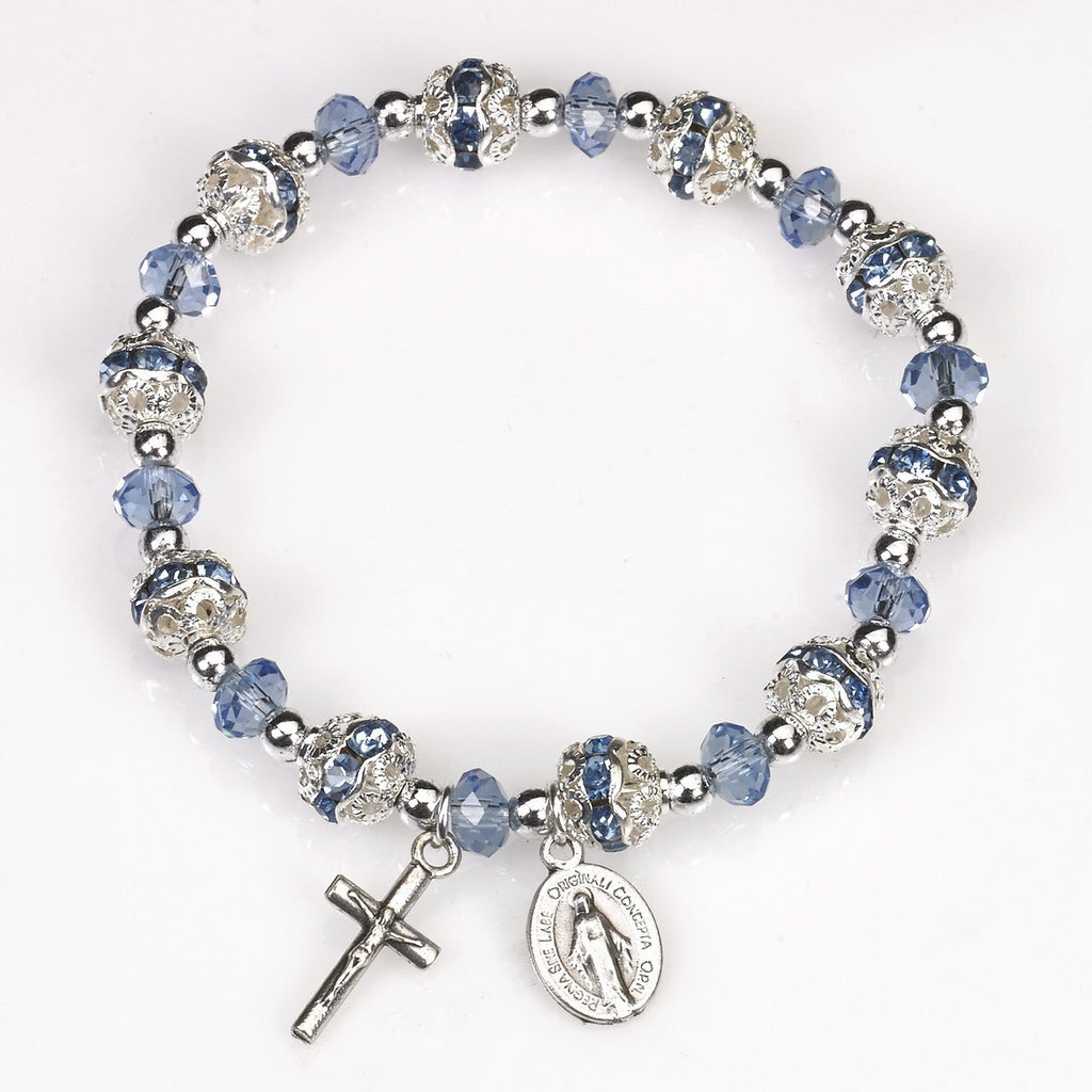 Light Blue Crystal Stretch Rosary Bracelet - Pack of 4