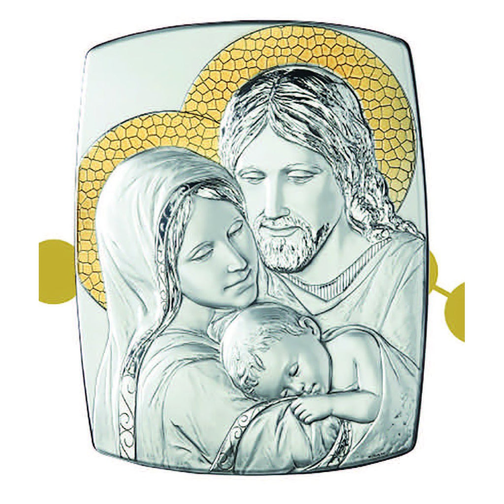 Holy Family Sterling Silver on wood Plaque