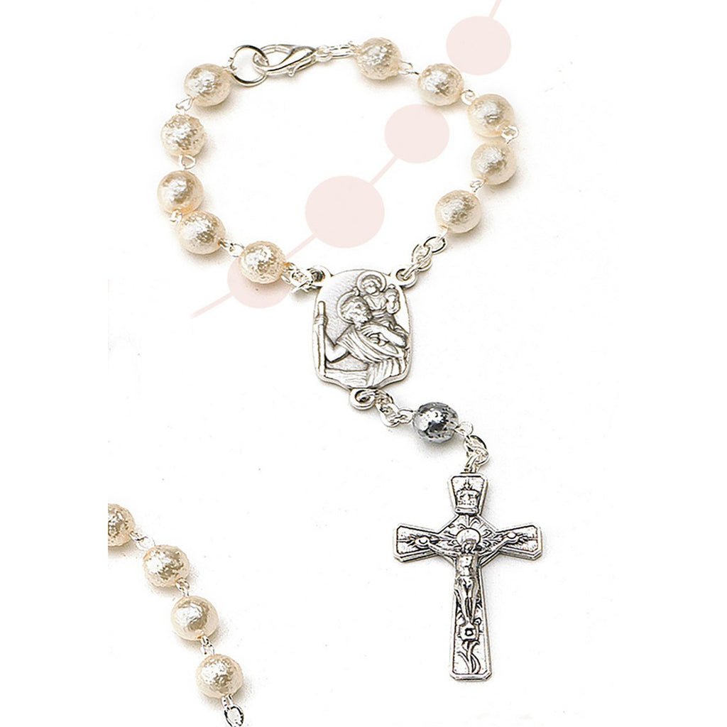 St Christopher Auto Rosary - Glass Imitation Pearl - Pack of 4