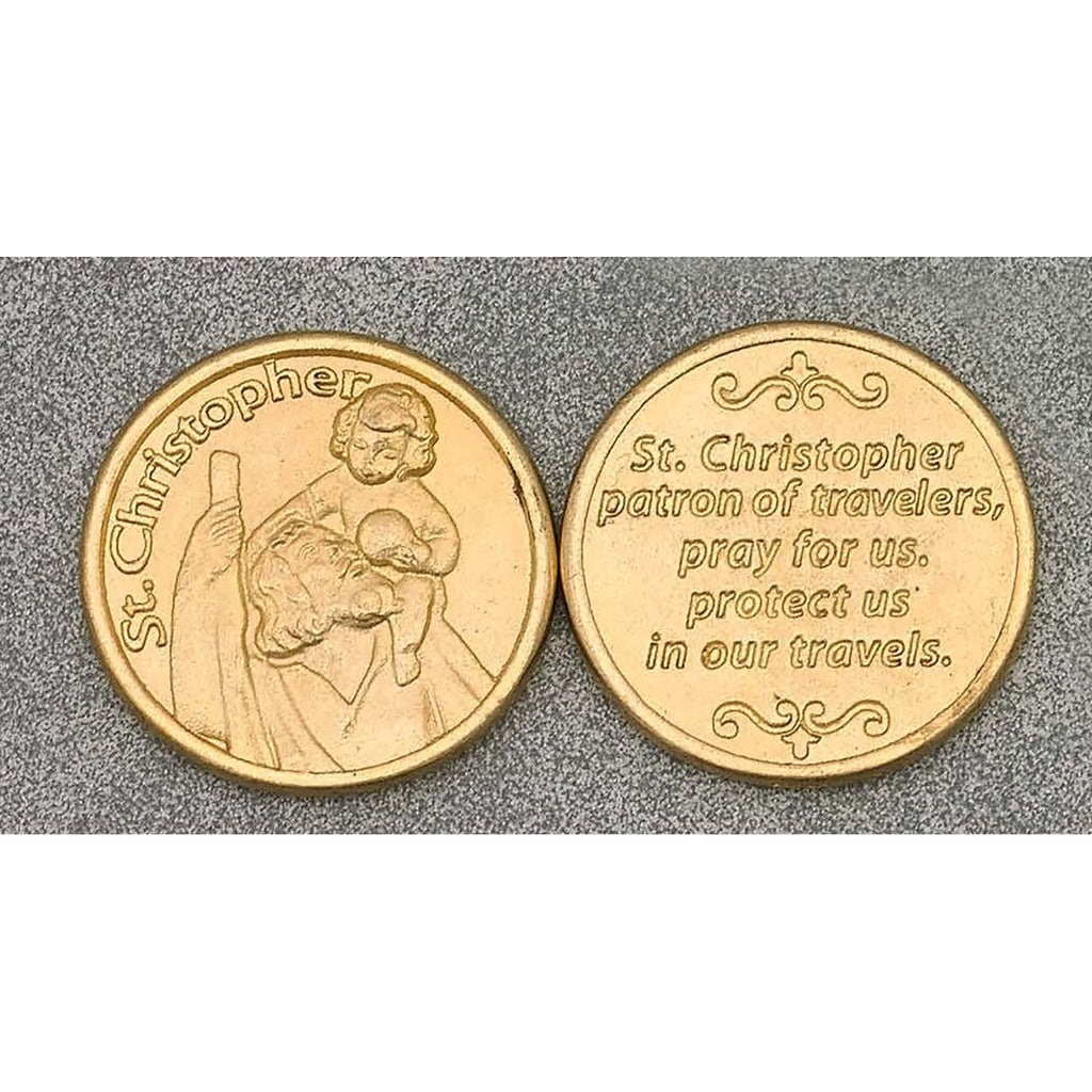 Gold Tone Token - Saint Christopher