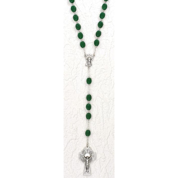 Irish Rosary with Shamrocks engraved beads