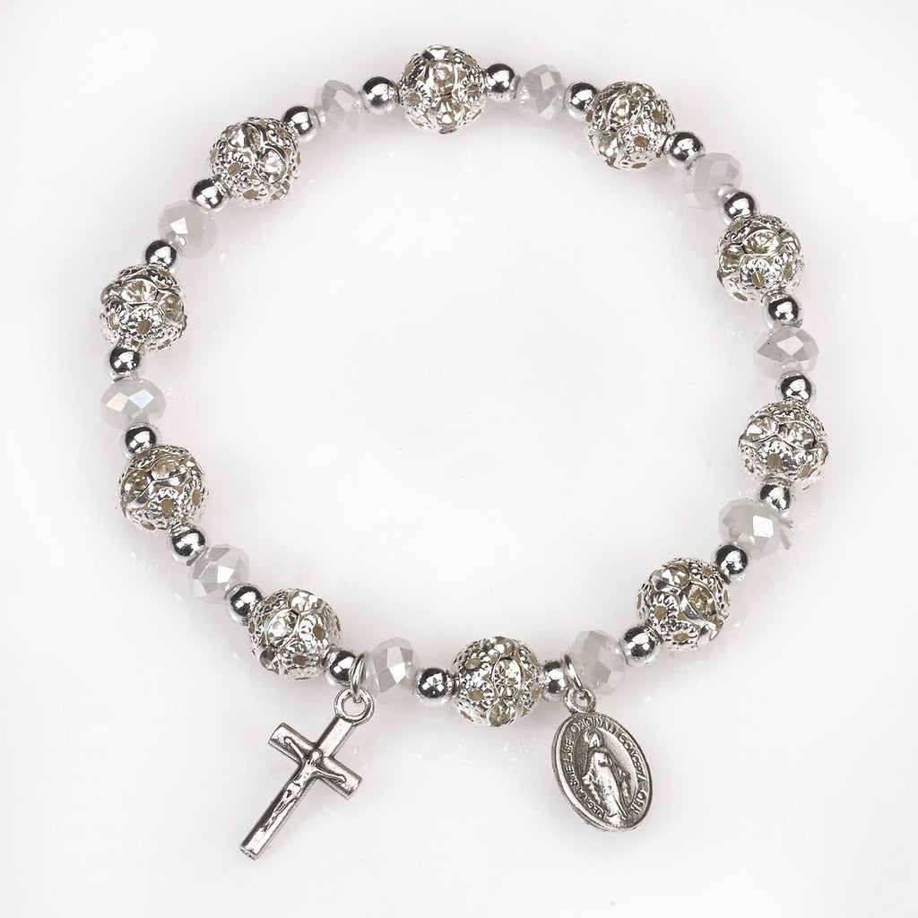 Clear Crystal Stretch Rosary Bracelet - Pack of 4