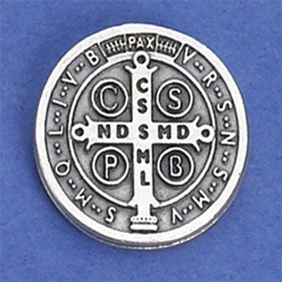 Saint Benedict Lapel Pin - Silver Tone - Pack of 6