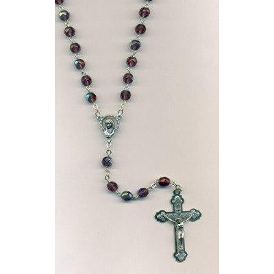 Purple Crystal Mary Rosary